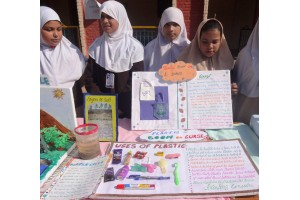 Students displaying and explaining model